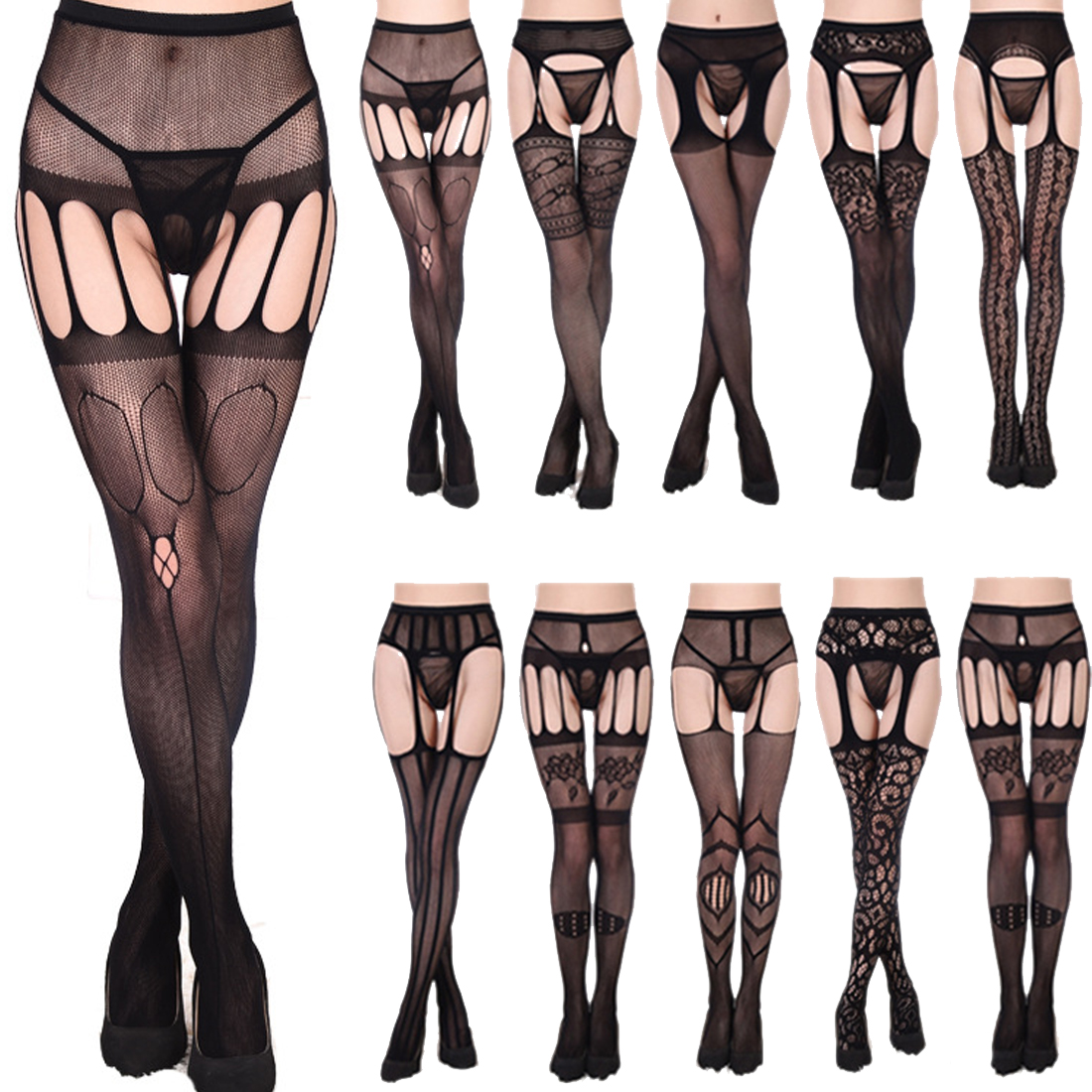 Lace Garter Funny Harajuku Transparent Black Fishnet Stockings Sheer Tight Embroidery Pantyhose Net Lace Stretchable Tight Slim