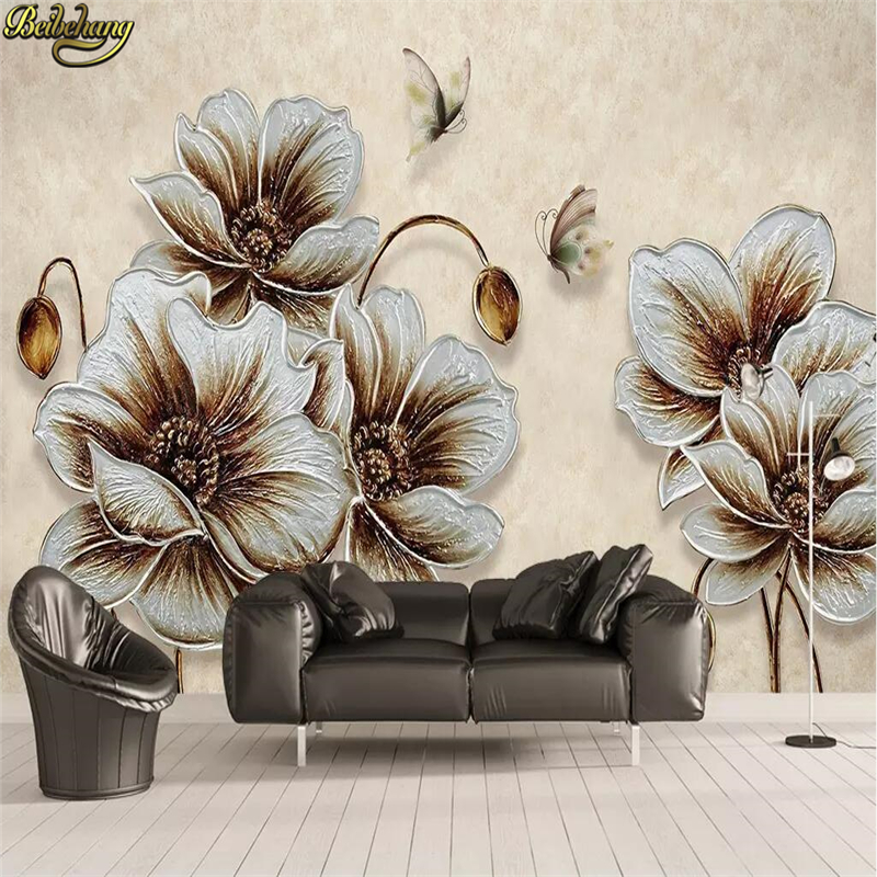 beibehang Custom wallpaper mural 3D three-dimensional gold beautiful butterfly background wall decorative painti papel de parede
