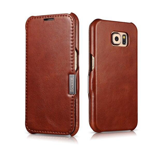 ICARER роскошный Винтажный чехол из натуральной кожи с откидной крышкой для Samsung Galaxy S6 Премиум Качества, чехол для телефона с магнитной застежкой