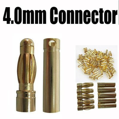 200 pairs a lot 4mm Gold Bullet Banana Connector Plug for RC Battery