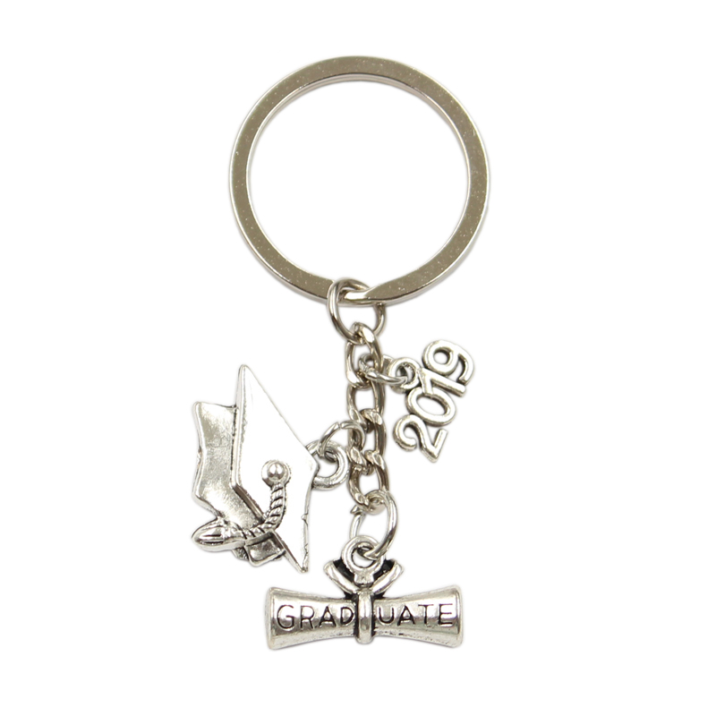 Graduate Diploma Graduation Cap 2018 2019 2020 School Pendant Diy Handmade Charms Men Car Keychain Women Jewelry For Gift