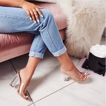 цена на 2019 New Transparent Heel Slides PVC Jelly Slippers Sexy Crystal Women heels Sandals Clear Open Toe Sandals Pumps Orange