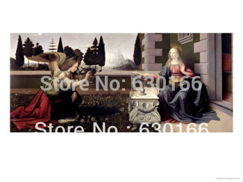 Annunciation by Leonardo Da Vinci Abstract Portrait Oil Painting on Canvas for Living Room Wall Art Picture 100% Hand Painted