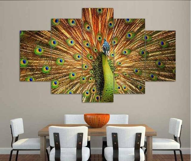 Big Size Abstract Living Room Wall Decor Home Decor Hang Wall Art Picture  Printed Peacock Oil Painting On Canvas Art