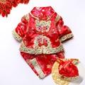 Niños Primavera/otoño Outfit Kids Traje Folklórico Chino Bebé Conjunto Infantil de Tela Hanfu juego de La Espiga Chino Año Nuevo Rojo ropa 18