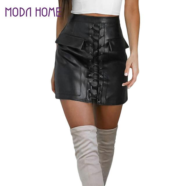 f3f1f8c243e0 Mode Femmes PU Cuir Jupe Moulante En Dentelle Up Poches Zipper Taille Haute  Short Mini Jupe