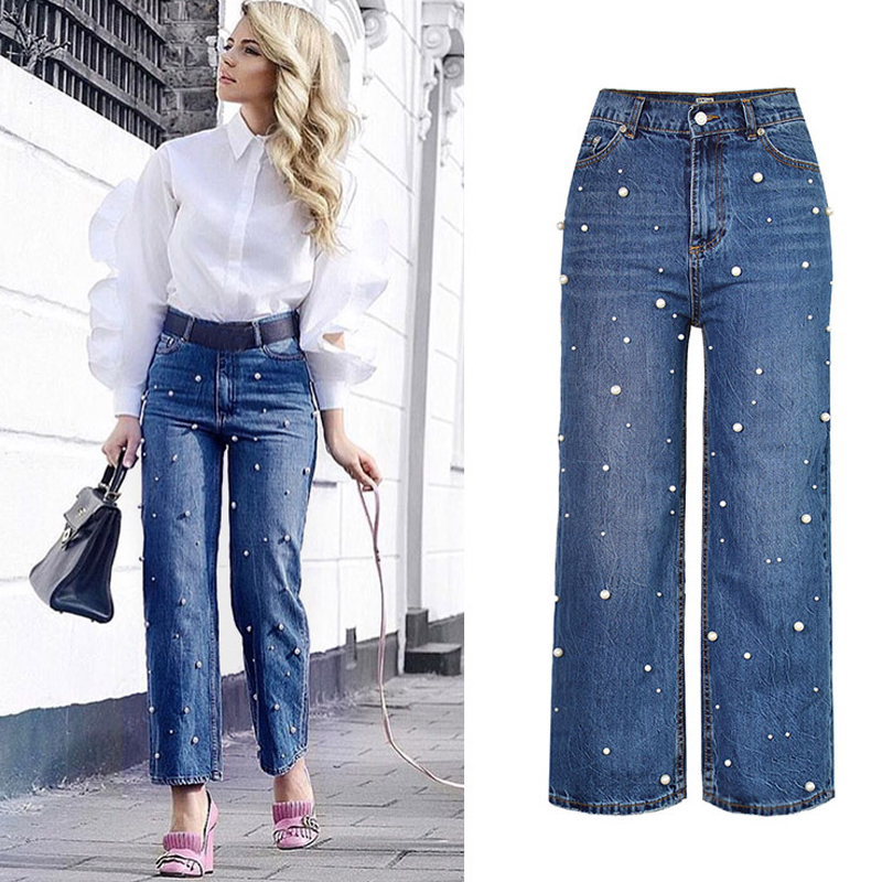 Sherhure 2018   jeans   Women   Jeans   High Waist Pearl Beading Wide Leg Straight Women   Jeans   Denim Pants Pantalon Femme