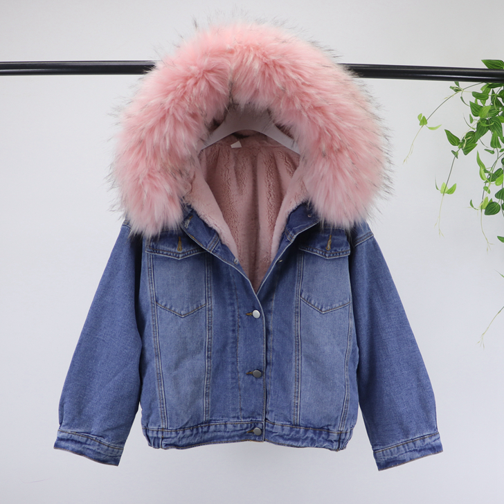 Épais laine d'agneau lâche jeans veste d'hiver femmes réel grand col survêtement 4 couleurs 2018 nouveauté