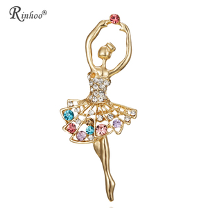 RINHOO Fashion Ballet Dancer Ballerinas Brooches Women Girls Cachecol Hijab Pin Up Clips Scarf Hats Shoulder Corsages Bouquet
