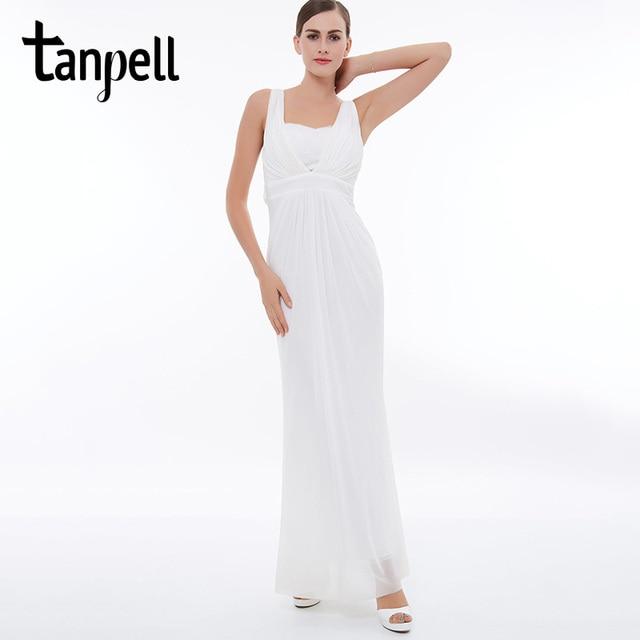 d051aaa3231ba0 Tanpell bandjes prom jurk wit mouwloze kant enkellange jurken goedkope ruches  chiffon straight formele avond lange