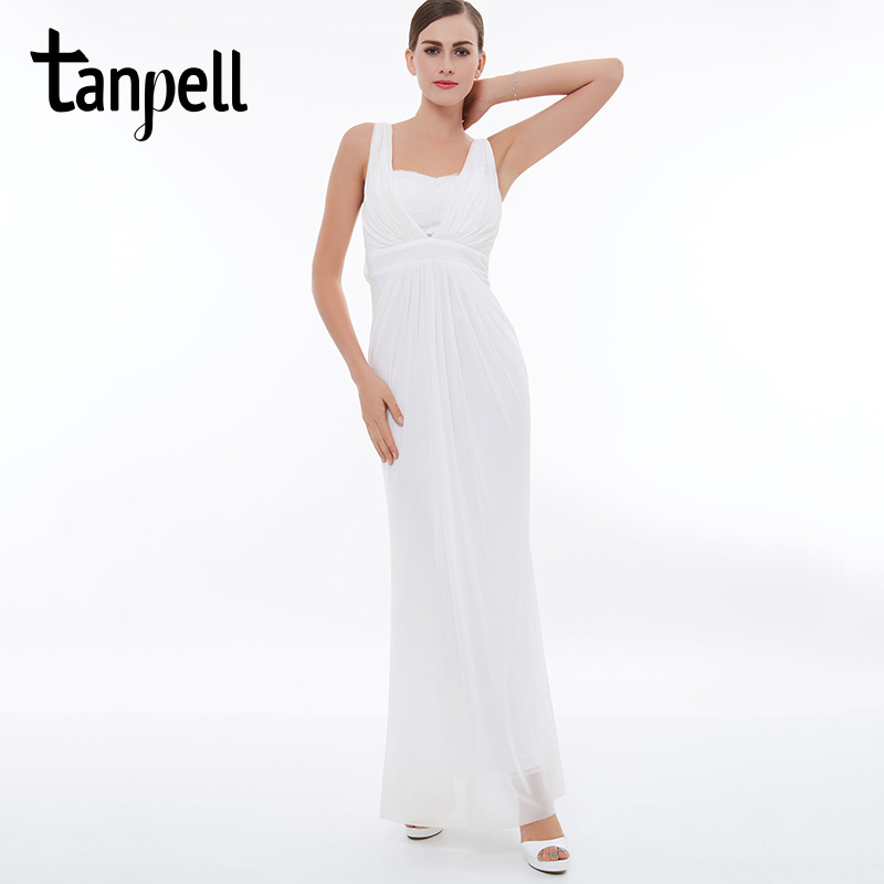 Tanpell straps   prom     dress   white sleeveless lace ankle length   dresses   cheap ruched chiffon straight formal evening long   prom   gown