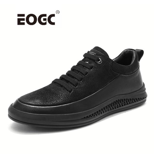 Кроссовки мужские из натуральной кожи, Уличная Повседневная обувь, Нескользящие, дышащие, для прогулок, Осень зима