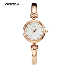 SINOBI Fashion Women's Golden Bracelet Wrist Watches Luxury Brand Females Geneva Quartz Clock Ladies Wristwatch 2017 Montre G26