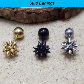 1 piece simple color black Gold Titanium stainless steel Punk Spike Rivet Screw ball Earrings studs.jpg 350x350 - 1 piece simple  color black Gold Titanium stainless steel Punk Spike Rivet Screw ball Earrings studs ear piercing jewelry