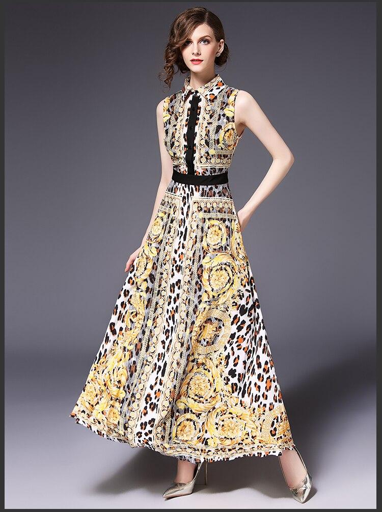 2018 Fashion Luxury Runway Designer Summer Party Dresses Women Sleeveless  Leopard Print Vintage Maxi Dress Women Long Dress -in Dresses from Women s  ... b0db2c768