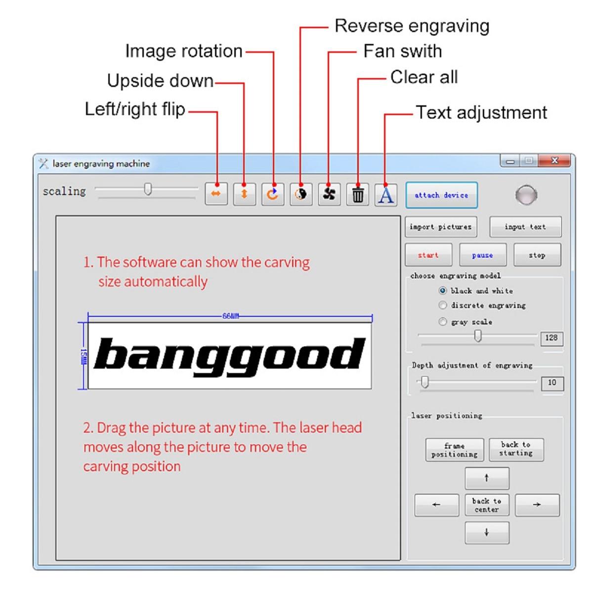 3000mw CNC Laser Engraving Machine/DIY Logo Mark Printer with Bluetooth Connectivity