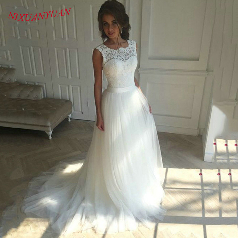 NIXUANYUAN New Lace O Neck Lace Tulle Boho Cheap Wedding Dress 2018 Beach Bridal Gown Bohemian