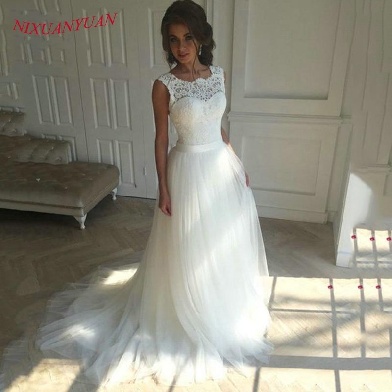NIXUANYUAN nouvelle dentelle o-cou dentelle Tulle Boho pas cher robe de mariée 2018 plage robe de mariée bohème robes de mariée robe de mariage