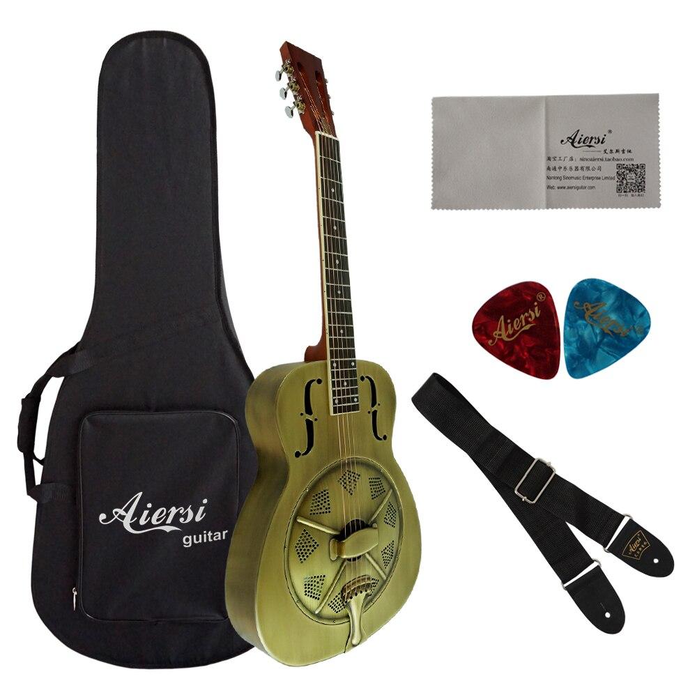 Aiersi marque Duolian Antique cloche en laiton résonateur guitare avec étui et sangle gratuits