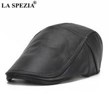 LA SPEZIA casquette plate en cuir pour hommes, bérets noirs naturels, chapeaux de pilote ajustables, pour automne et hiver décontracté