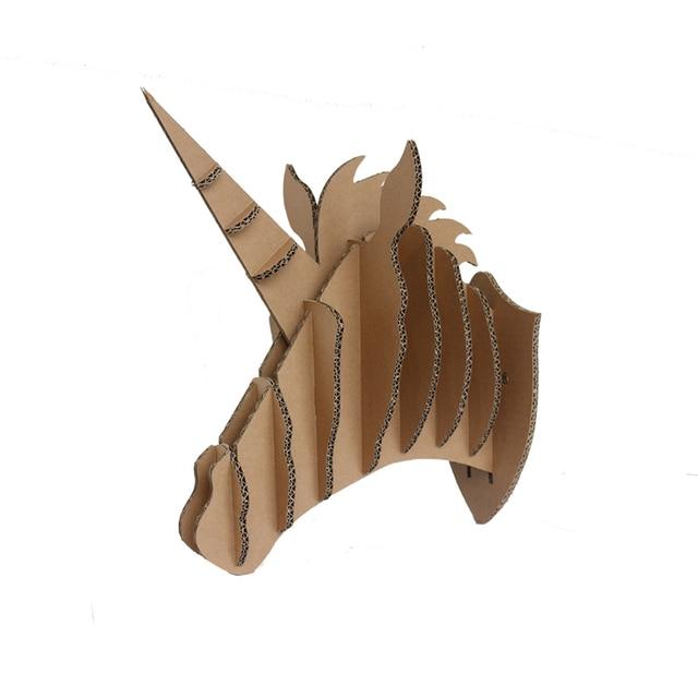 Extrêmement Unicorn Head Animal Head Wall Decoration Sculpture 3D Puzzle DIY  ZA73