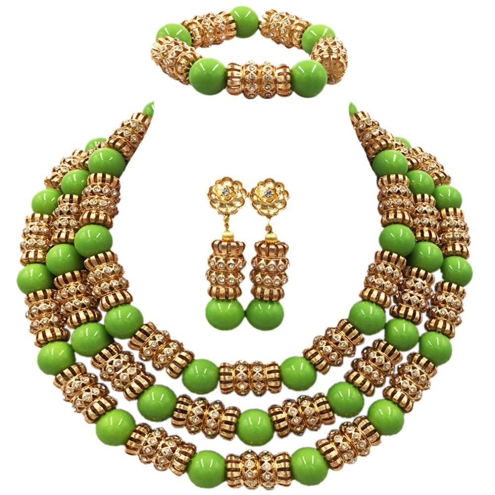 Nigérian mariage perles africaines bijoux ensemble verre perle collier boucles d'oreilles pour les femmes déclaration de mariée bijoux ACB-39