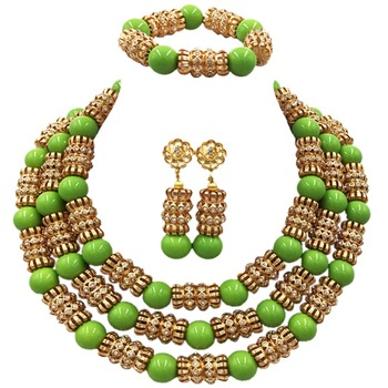 Nigerian Wedding African Beads Jewelry Set Glass Pearl Necklace Earrings for Women Bridal Statement Jewelry ACB-39