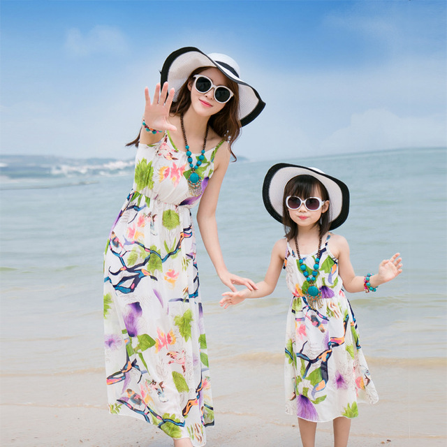 Family fitted mother and daughter 2016 bohemian beach dresses chiffon women dress summer seaside resort Dress