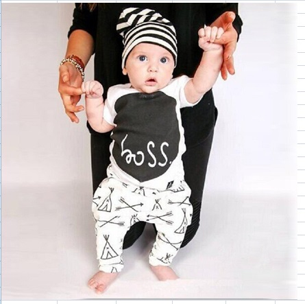 2016 Summer Infant baby babe clothing sets Toddler casual cotton T-shirt Top + Long Pants Boss Print