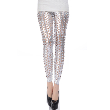 Personalized fish scale pants women punk pu leather hole legging Free shipping