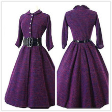 sweater dress long sleeve women dress autumn winter 2015 purple retro winter clothing buttons down pleated belt Free Shipping