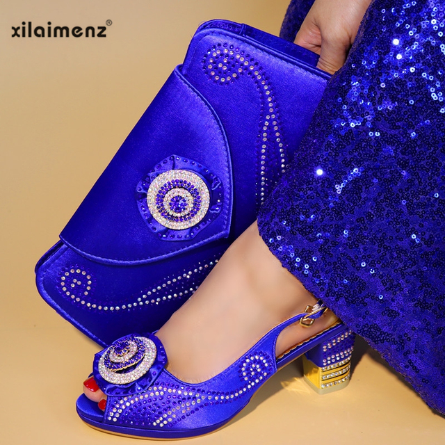 Royal Blue Latest Ladies Italian Shoes and Bag Set Decorated with Crystal Women Matching Sandals and Bag Set Party In Women