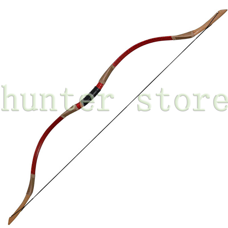 Traditional Recurve Bow 45 lbs Snakeskin Beech Fiberglass Wooden Longbow for Carbon / Wooden Arrows Hunting Shooting Practice