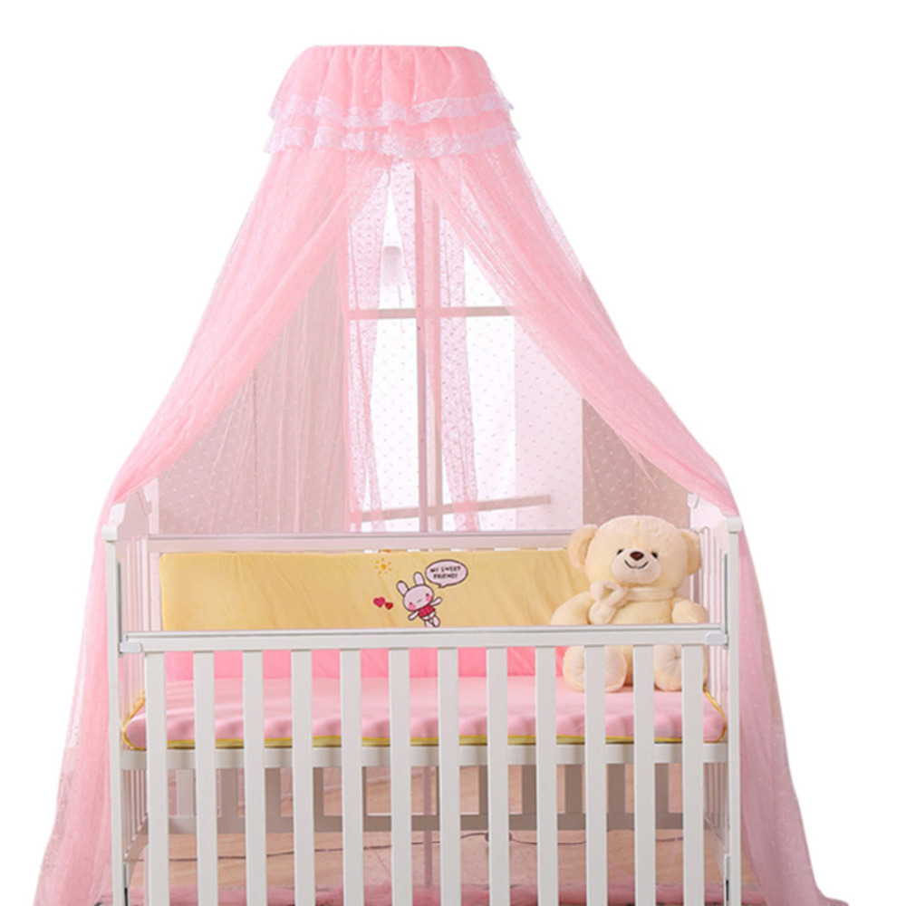 Baby Bed Mosquito Net Playpens Bassinets Crib Netting Round Dome Infant Cribs Bed Canopy Durable Mosquito Net Holder 4 Colors baby bed curtain kamimi children room decoration crib netting baby tent cotton hung dome baby mosquito net photography props