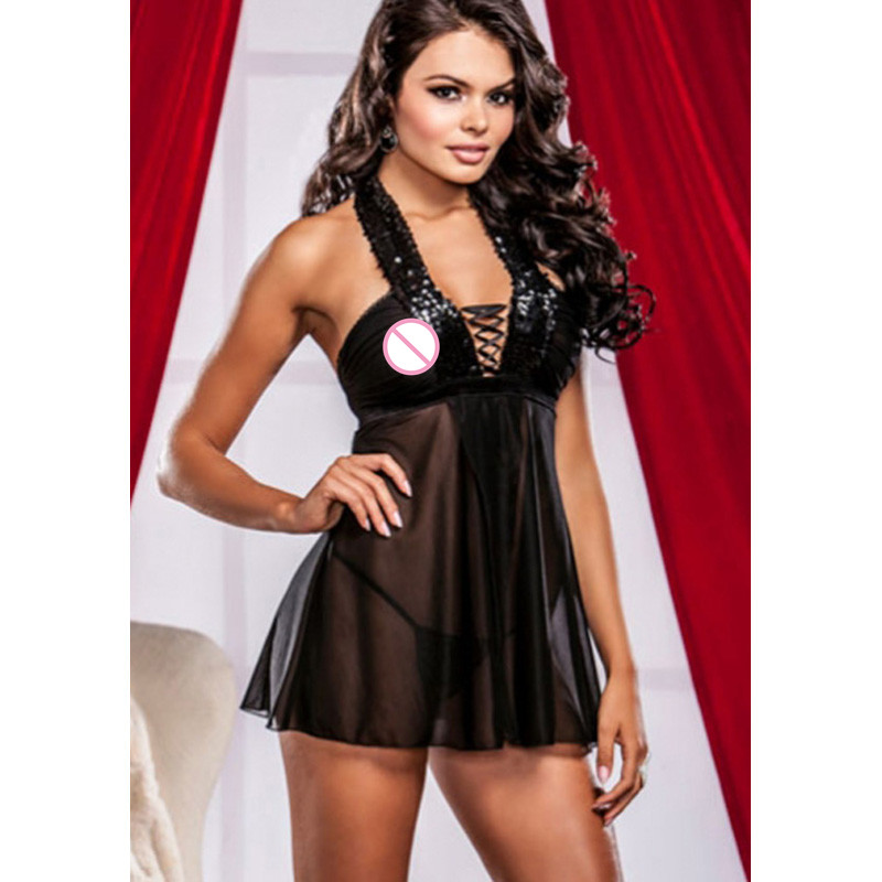 Strapless Lingerie Lady Sexy Hot Erotic Black Sleeveless Nightwear Sex Underwear Erotic Halter See Through Babydoll Lingerie