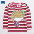 Nova 2015 fashion printed lovely little girl with button decoration stripe long sleeves for 2-6y baby girls t-shirt retail
