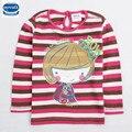 Nova 2015 moda impresso linda menina com botão decoração stripe mangas compridas para 2-6y bebés t-shirt de varejo