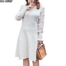Большие размеры весна вязаное платье Для женщин Кружево лоскутное Цветочные аппликации Свободные Элегантные линии платье