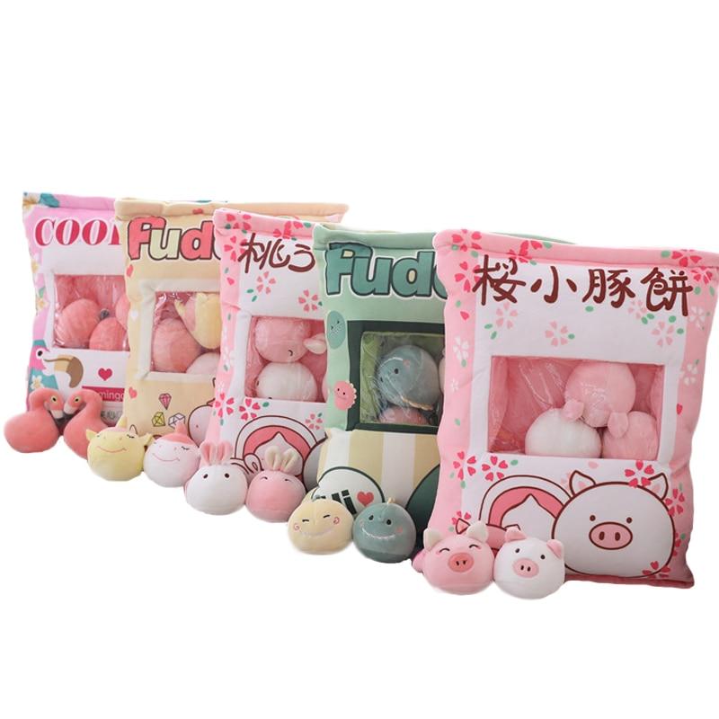 Unicorn Flamingo Dinosaur Rabbit Pig Plush Toys 8pcs Small Toys Lifelike Food Pudding Snack Pillow Gift For Children Girlfriend