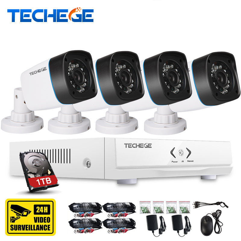 Techege 4CH CCTV System 720P 3 in 1 AHD CCTV DVR 4PCS 1.0 MP IR Outdoor Security Camera 1200 TVL Camera Surveillance System 4ch cctv system 1080p hdmi ahd 4ch cctv dvr 4pcs 1 3 mp ir outdoor security camera 960p waterproof camera surveillance system
