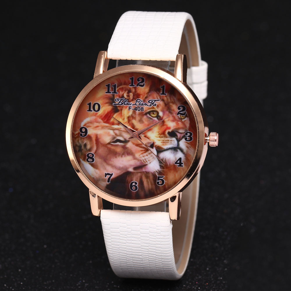 Best Selling Luxury Fashion Lion Picture Print Dial Clock Watch Analog Quartz Sports WristWatch Leather Women The Best Gift #A
