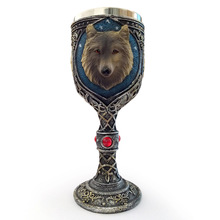 Funny 3D Wolf Coffee Cup Mug Cool Resin Stainless Steel Goblet Creative Drinkware Copo Friend Gift