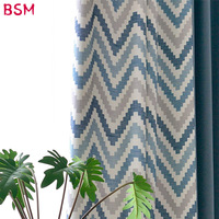 Wave Striped Nordic Curtains For Living Dining Room Splicing Dark Blue Curtains Fabric For Bedroom Window Treatment AWB0364