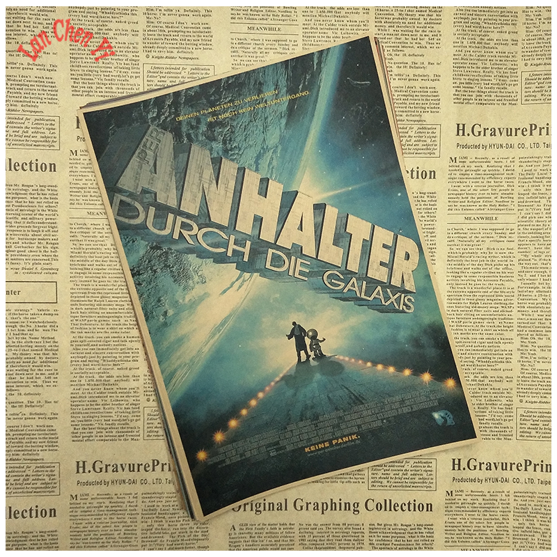 Nostalgia Retro The Hitch hikers Guide to the Galaxy Movie Kraft Paper Poster Cafe Creative wallpaper Interior Decoration