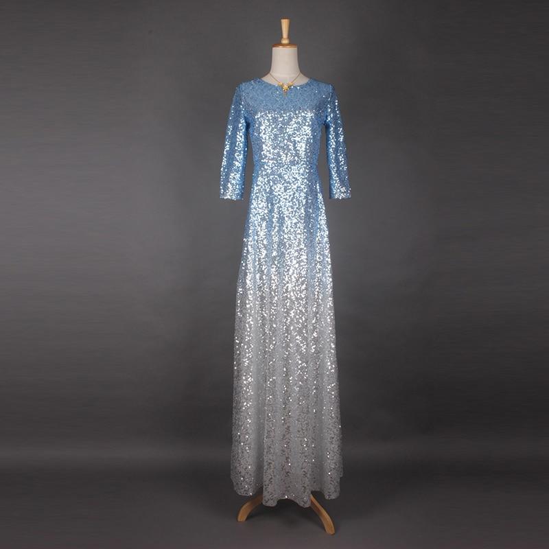 O Pu cou Luxe Lumière Ciel Bleu Paillettes Élégante 2017 quarts Robe Nouvelle Haute Longueur parole De Qualité Manches Trois Mode Printemps CxC1PwH7q