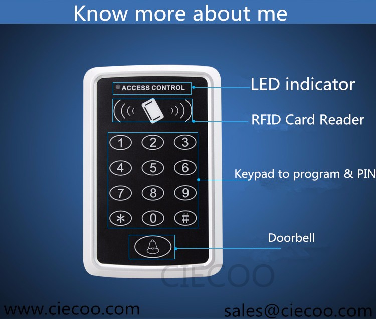 Card access control 1000 users single door standalone access control system with 10 keys metal face rfid access control with 2000 users single door access control standalone card reader m601 access control kit