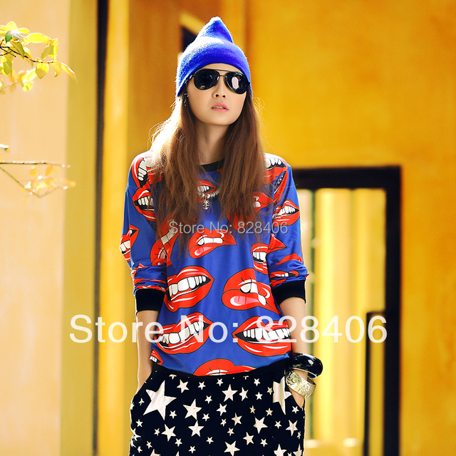 new 2014 3D Printing  harajuku sweatshirt Classic tongue printing Sweatshirts women hoodies sweatshirts Women sports clothing