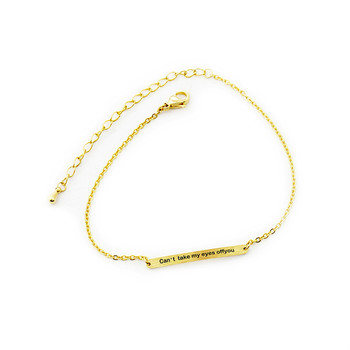 Women Long Bar Engraved Initial Bracelets Stainless Steel Gold Silver Color 1