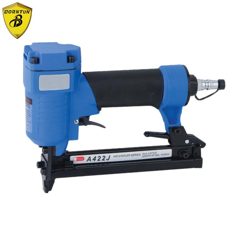 Grampeador de ar Pneumático Prego Nailer Arma Coroa Estreita Grampeador 4mm u Unhas Grampos 10-22mm 4-7bar 60-110psi Máquina A422j-c