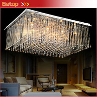 Best Price New Arrival Modern Rectangular Crystal Chandeliers K9 Crystal LED Ceiling Lamp Living Room Lighting Fixtures